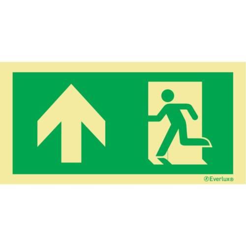 Laufrichtung geradeaus durch Tür - Flucht- und Rettungszeichen