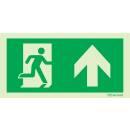 Rettungszeichen geradeaus durch Tür