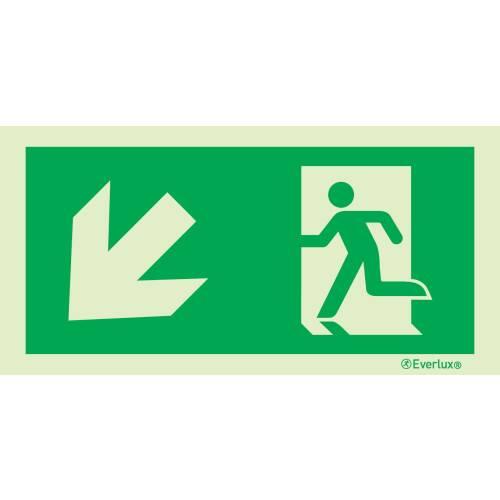 links abwärts - Flucht- und Rettungszeichen