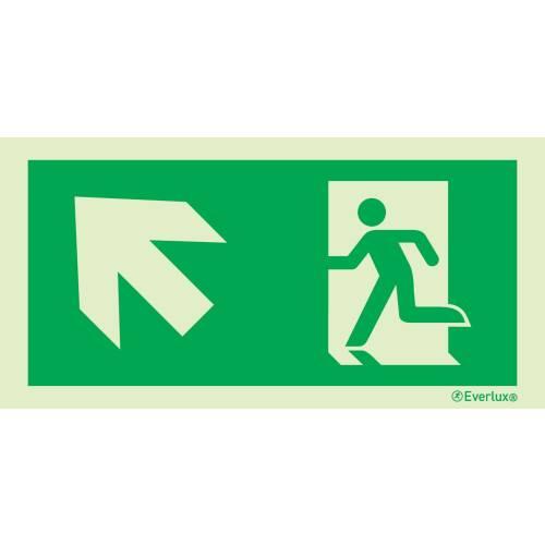 links aufwärts - Flucht- und Rettungszeichen