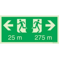 Rettungszeichen für Tunnel Fluchtweg Distanzangabe